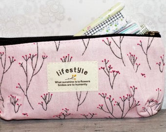 """Stationery Flower Pencil or Pen case. Cloth pencil holder. 7x4"""". School supplies."""