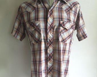 Vintage Men's 70's Western Shirt, Plaid, Short Sleeve, Snap Button by JC Penney (L)