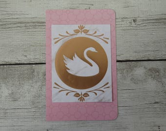 Elegant Swan - Midori Travelers Notebook Dashboard - Passport, Field Notes, A6, Personal, B6 Slim, Standard, A5, Large Cahier