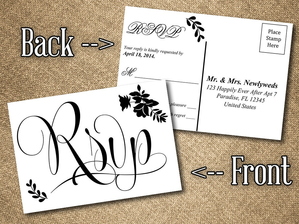 DIY Wedding RSVP Postcard Word Template Vintage Romance - 5x7 postcard template for word