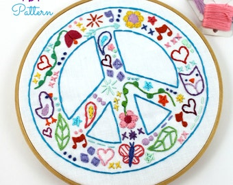 Peace Sign. Hand Embroidery. Digital Pattern. Embroidery Design. PDF Pattern. Hippie Summer. Doodles. Peace and Love. World Peace. Hoop art
