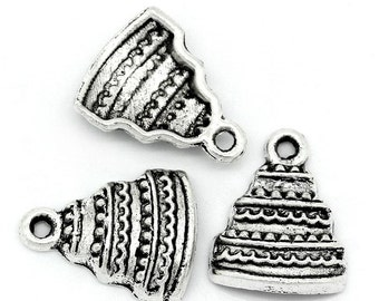 10 Pieces Antique Silver Cake Charms