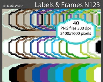 Modern Labels and Frames Clip Art Kit PNG files CU for creating invites, scrapbooking, N123