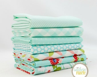 "Basics - Aqua - Fat Quarter  Bundle - 7 - 18""x21"" Cuts - Bonnie and Camille - Moda Quilt Fabric"
