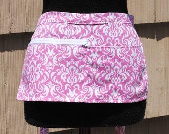 Vendor Apron Server Apron Cash Apron Travel Apron Pink Damask Cotton Twill