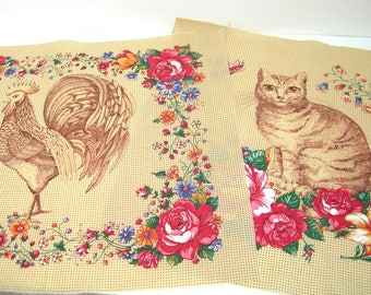 Rooster and Cat Printed Fabric Panels, Brown, Country French