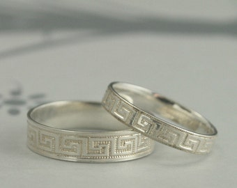 Greek Key Wedding Band Set--My Big Fat Greek Wedding Bands--Sterling Silver Wedding Rings--Greek Fret His and Hers Bands--Handmade to Size