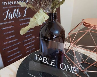 Wedding Table Numbers, Clear Acrylic Perspex Wedding Table Numbers, Wedding Signs Decor