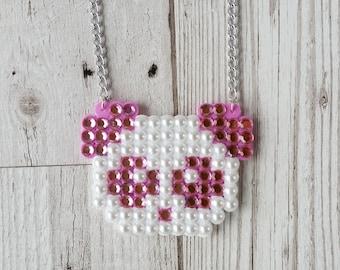 Pastel Pink Kawaii Panda Necklace