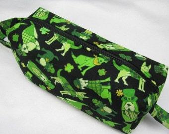 St Patricks Shamrock Celtic bag with surprise embroidery inside - Cosmetic Bag Makeup Bag LARGE