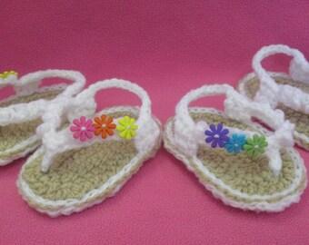 Handmade Crocheted Baby Girl's Groovy Flower Flip Flops/ Easter Gift/ Baby Shower Gift/ Baby Flip Flops/ Baby Sandals/ Flip Flops