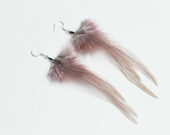 Dusty rose earrings made with natural feathers Handmade earrings Lightweight jewelry Dangle earrings Boho Chic Hippie FeatherJewelryStudio