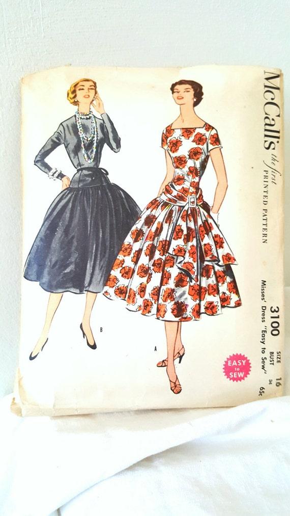 1954 Vintage Sewing Pattern McCall\'s 3100 Printed Sewing
