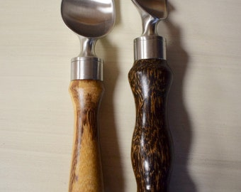 Ice Cream Scoops - Stainless Steel, Talon-Style - with Exotic Wood Handles
