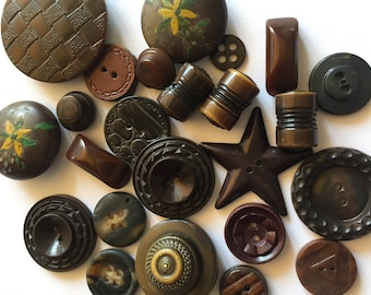 24 Interesting Brown Buttons - Unique Vintage and Antique Buttons -  Assorted Materials and Shapes -  Star Toggles Bakelite Leather