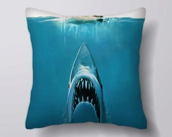 Jaws Movie Poster - Cushion Cover Case Or Stuffed With Insert