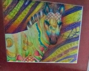 sale original art color pencil  drawing 11x14 zebra zentangle design abstract