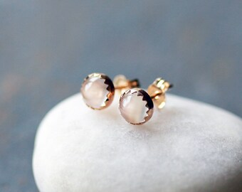 White Moonstone Stud Earrings, Moonstone Studs, SOLID Gold Studs, 14k Yellow Gold Posts, Serrated Setting, 5mm Gems, Wedding Jewelry