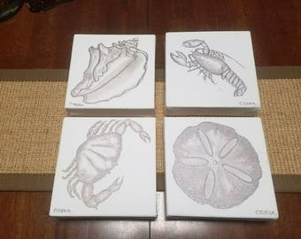 Sale Set of Four Original Seashore Paintings Silver on Canvas Crab Lobster Conch Silver Dollar
