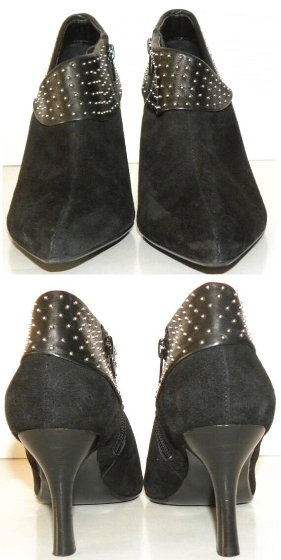8 STUDS Women CHIC 90s Suede size Booties Up Eli Van Zip M Toe Boots ankle Heels BLACK Pointy Kid Vintage US6qww