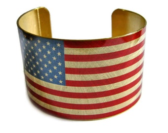 United States FLAG cuff bracelet USA Brass   Heritage America Gifts for her