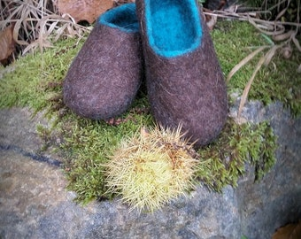 Adult unisex brown turquoise blue wool felt slippers