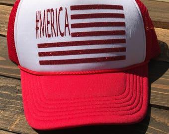 Merica Trucker Hat, Fourth of July Hat, Flag Hat