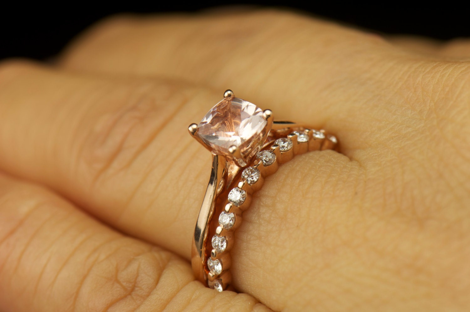 gold with white rings engagement prong accents diamond shared mounting in product ring