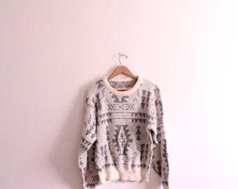 Silver Chevron 80s Knit Sweater