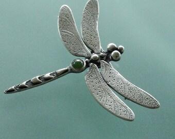 Dragonfly Brooch, sterling silver
