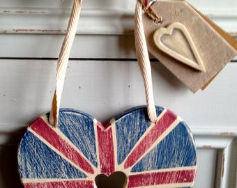 Union Jack Heart Wooden (15cm x 14 cm) East of India.