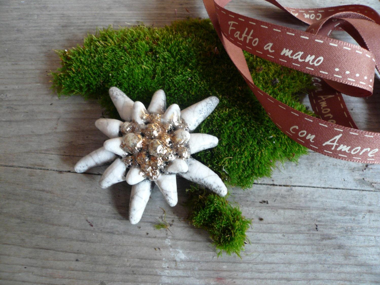 Molto Stella alpina in ceramica raku albero Natale decorazione AU74