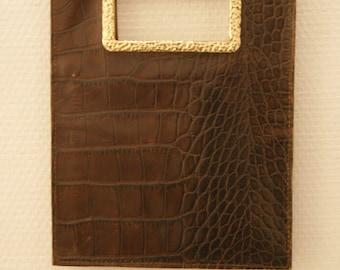 Sonia Rykiel vintage des années 90 handhell croco en cuir pochette plate