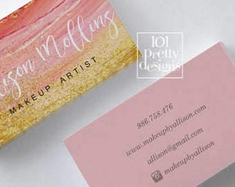 Watercolor business card template gold glitter  printable business card design gold and pink business card gold makeup artist glitter