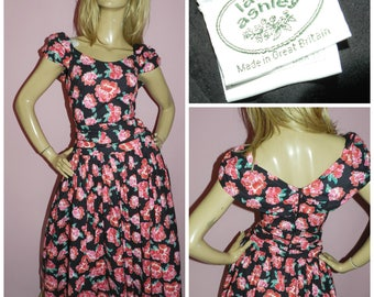 Vintage 80s LAURA ASHLEY Black Pink ROSE print prom party dress 10 S 1980s Wedding Occasion