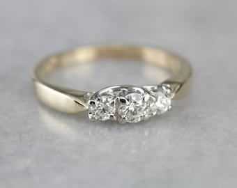 Past Present Future Ring, Three Stone Diamond Ring, Engagement Ring, Anniversary Ring A6VDT3-D