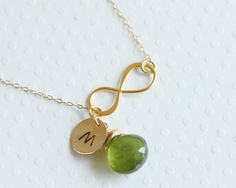 Personalized Infinity Necklace December Birthstone Peridot Initial & Stone Monogram Necklace, Green Necklace