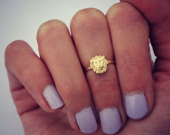 Lion ring - knuckle ring, gold ring, stacking ring