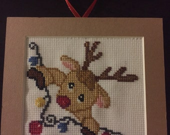 Rudolph Cross Stitch Ornament