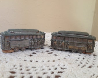 Vintage Souvenir salt and pepper shakers San Francisco Cable trolley cars Cast Metal