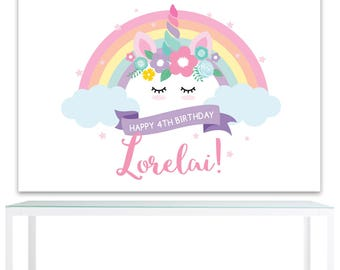 DIGITAL FILE Backdrop Poster: Unicorn Birthday Printable Banner Backdrop 60x40 inches, Unicorn Birthday Backdrop Poster PDF