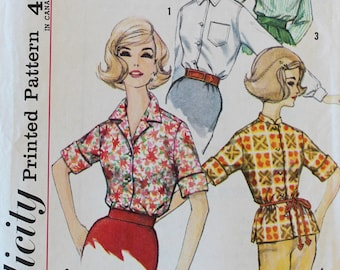 1960s Vintage Button-Up Shirt Sewing Pattern - Simplicity 4056 - Bust 36