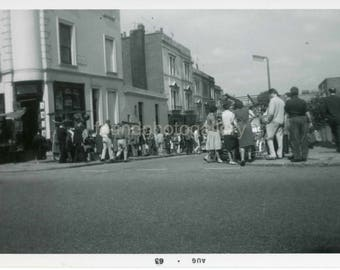 Vintage Photo, Portobello Road, London, England, Crowd of People, Travel Photo, Tourists, Vacation, Black & White Photo,  Old Photo