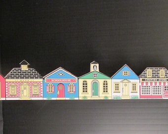 """Village Houses by CHADWICK-MILLER 1987 - Wall Hanging or Door Topper  23"""" Long x 4"""" Tall"""