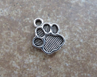 10 PAW PRINT Charms Cute Little Striped Paws Dog Cat Pet Charms Jewelry 15.5x12.5 mm