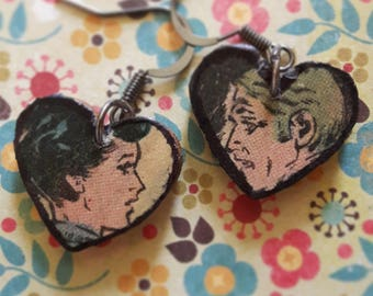 Vintage Comic Heart Earrings