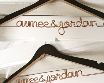 Etsys original personalized wire wedding hangers by lilafrances metallic painted wedding hanger personalized hanger custom hanger bride hanger solutioingenieria Images
