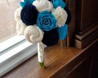 Navy & Turquoise Sola Bouquets