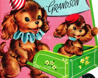 Puppies Taking A Ride Vintage Digital Download Printable Images (171)