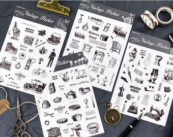 Black & White Vintage Lifestyle Sticker Set - Planner, Journal, Craft, Scrapbooking, Decoration